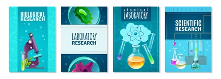 Four science isolated banners with laboratory tools for genetics chemical and biological research flat vector illustration. Illustration