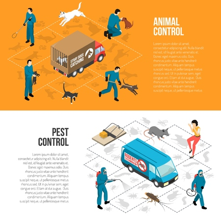 Stray animals pest control agency banners vector illustration set