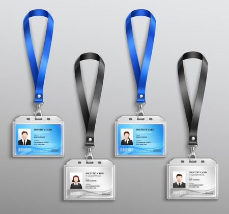 Clear plastic name tag badges set vector illustration Çizim