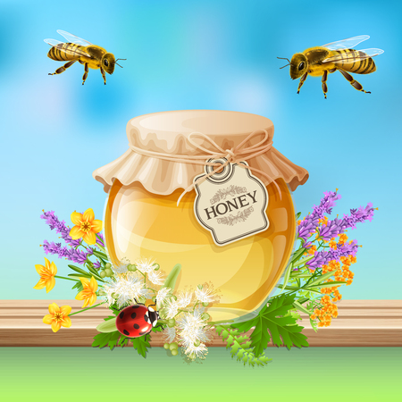 Flying bees and ladybird beetle with lavender and linden honey jar realistic composition with insects vector illustration. Illustration