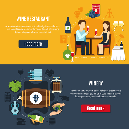 Flat design banners set with winery icons and people drinking wine