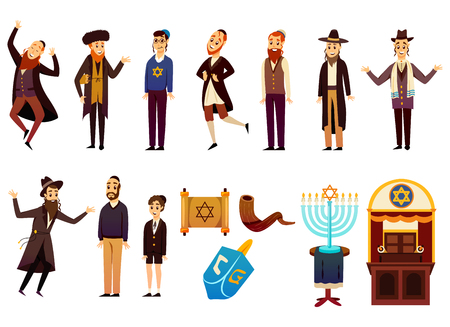 Cartoon Jews characters icons collection