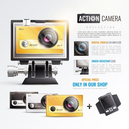 Action camera poster with digital zoom symbols realistic vector illustration Illustration