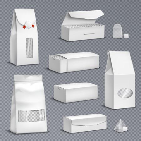 Sachets de thé en papier blanc vierge et feuilles en vrac packs boîtes paquets réaliste set fond transparent illustration vectorielle