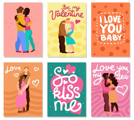 Love hugs vertical cards with handwritten phrases, couples during embraces on color background isolated vector illustration Illustration