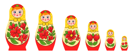 Matryoshka polhov-maidanskaya family set with flat isolated images of nesting dolls set with traditional coloring vector illustration. Çizim