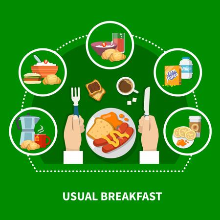Concept de petit déjeuner traditionnel traditionnel avec des saucisses de bouillie cornflakes crêpes toasts de café sur fond vert illustration vectorielle plane Banque d'images - 95916019