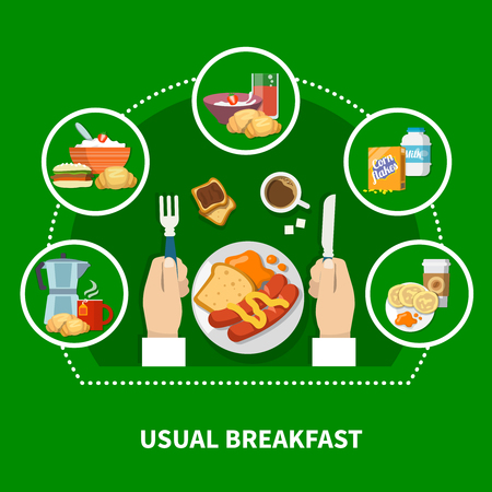 Traditional usual breakfast concept with porridge sausages cornflakes pancakes coffee toast on green background flat vector illustration