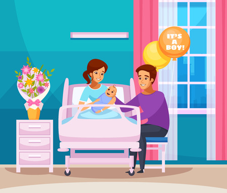 Childbirth cartoon composition with happy family with newborn boy in chamber of maternity hospital vector illustration Illustration