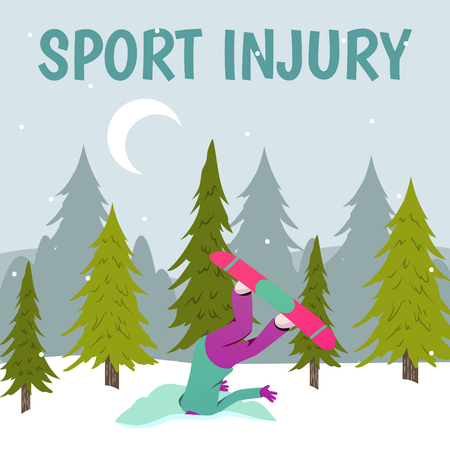 Sport injury flat colorful composition with winter landscape with trees snow and human character of injured person vector illustration.