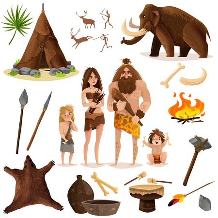 Cavemen decorative icons set with hut weapon for hunting mammoth vector illustration