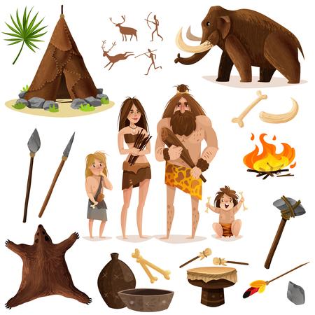 Zestaw ikon ozdobnych jaskiniowców z bronią chaty do polowania na mamuta ilustracji wektorowych