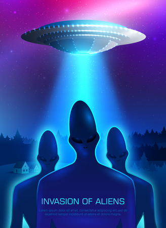 Alien invasion with spaceship lights and humanoids symbols realistic vector illustration.