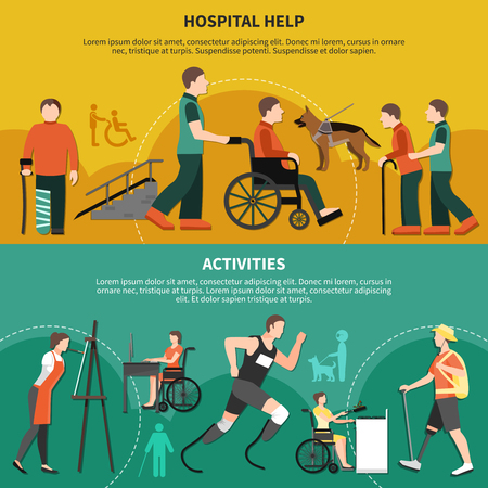 Two horizontal disabled person banner set with hospital help and activities descriptions vector illustration