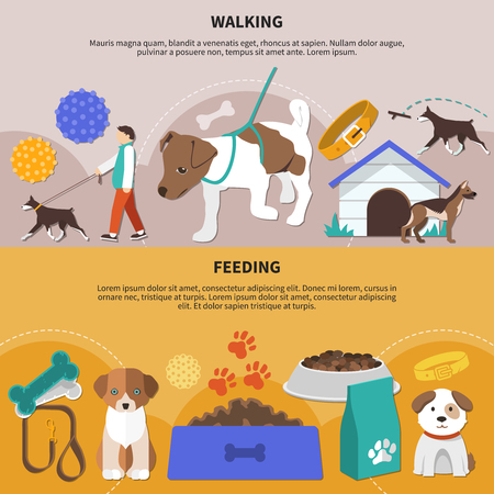 Set of two flat pictorial horizontal banners with dogs fetch walking and feeding accessories and products vector illustration