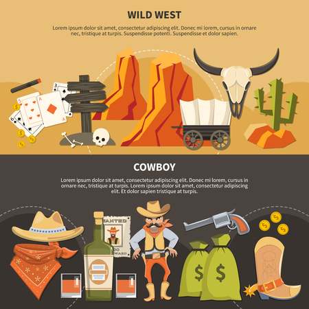 Horizontal banners with wild west elements and cowboy attributes isolated on black and sand background vector illustration   일러스트