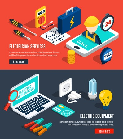 Electricity isometric banner set with electrician service and electric equipment headlines vector illustration.