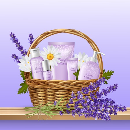 Holiday present with basket full of flowers, face and body care products Vectores