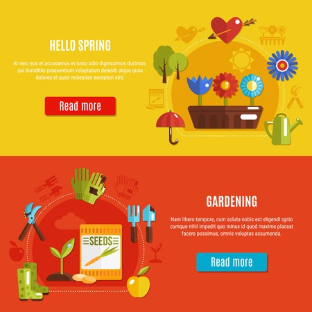 Horizontal spring banners with gardening tools flowers and sprouts on colorful background flat isolated vector illustration.