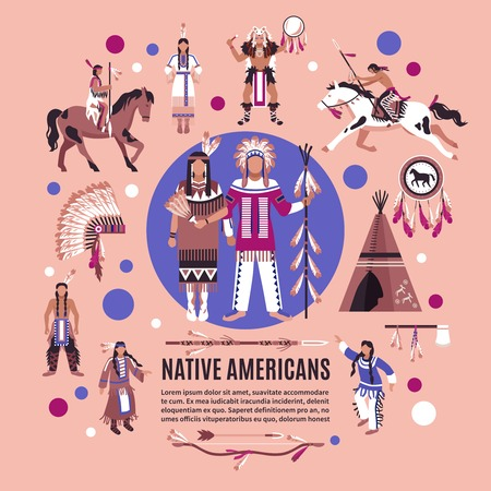 Native americans design concept with persons in ethnic dress national  attributes and hunting equipment cartoon vector illustration