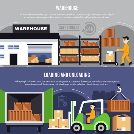 Warehouse colored and flat composition or banner set with loading and unloading descriptions vector illustration