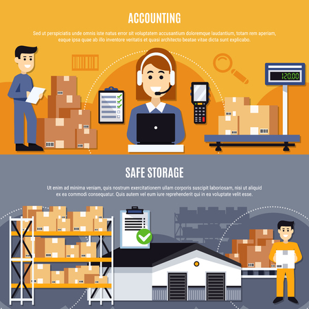 Two horizontal flat warehouse banner set with accounting and safe storage descriptions vector illustration Illusztráció