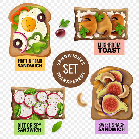 Fast food transparent set with diet crispy and protein bomb sandwiches mushroom toast and sweet snack cartoon isolated vector illustration Illustration