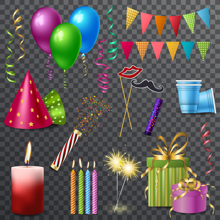 Set of realistic holiday elements with party hats, burning candles, balloons isolated on transparent background vector illustration.