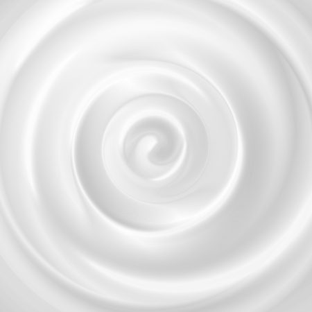 Cosmetic cream background with realistic image of heavy textured pure white creamy swirl with shadows vector illustration.