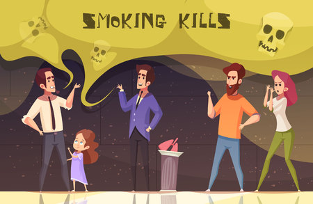 Smoking kills poster with male and female characters agitating smoker to quit smoking vector illustration. Ilustração