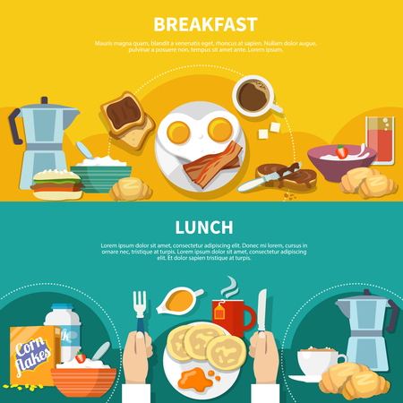 Flat horizontal banners set with served lunch and breakfast isolated on colorful background vector illustration  イラスト・ベクター素材