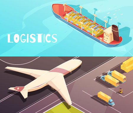 Isometric logistic horizontal compositions set with views of cargo ship upon the sea and freighter aircraft vector illustration