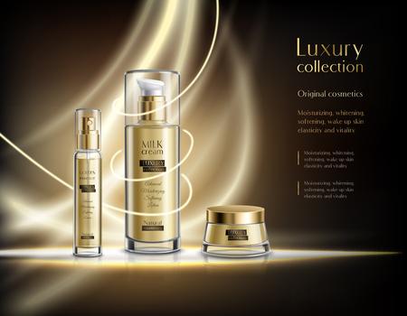Plakat reklamowy realistyczne kosmetyki luksusowe
