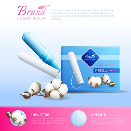 タンポンブランドシンボルベクターイラスト付き女性衛生リアルポスター  イラスト・ベクター素材