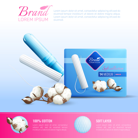 Feminine hygiene realistic poster with tampons brand symbols vector illustration