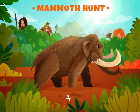 Mammoth hunt colorful poster with title and prehistoric people hunting for big animal in stone age cartoon vector illustration