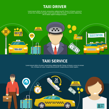 Taxi horizontal banners set with editable text