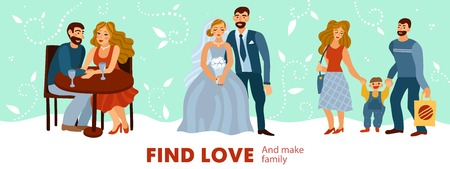 Developing love relations from romantic dating to making of family with child on pastel background vector illustration