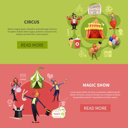 Circus cartoon banner set with circus and magic show headlines and read more buttons vector illustration Ilustrace