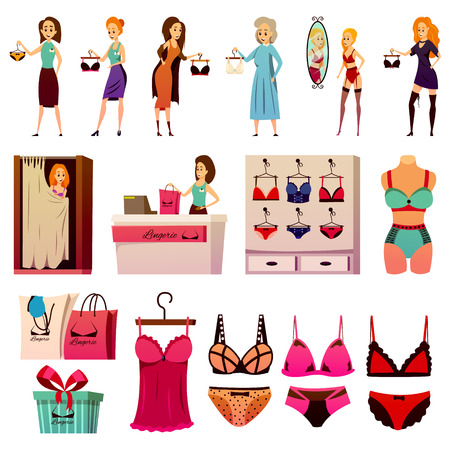 Lingerie store flat colorful icons collection of isolated female underwear mannequins shop displays and human characters vector illustration