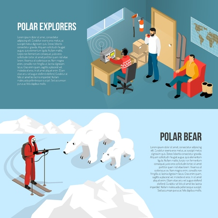 Arctic pole exploration 2 horizontal isometric banners with white bears and radio station interior isolated vector illustration