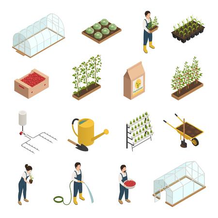 Kas personeel personeel gereedschap apparatuur planten accessoires isometrische pictogrammen instellen met kruiwagen