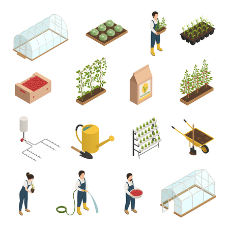 Greenhouse facilities personnel tools equipment plants accessories isometric icons set with wheelbarrow
