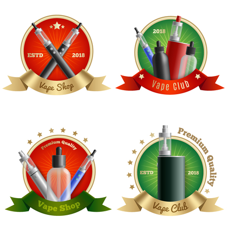 Vaping emblems realistic set of four isolated compositions with vape pens and vaporizing devices with text vector illustration