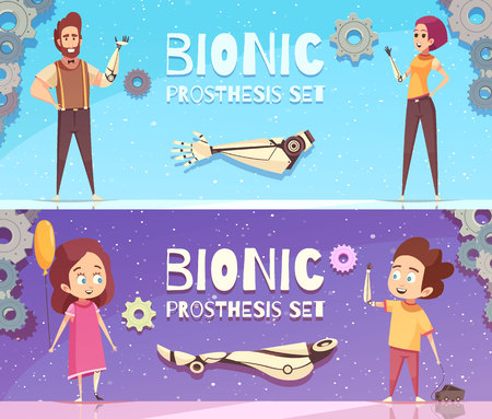 Bionic prosthesis banners collection with horizontal compositions of gear images editable text and human characters vector illustration Çizim