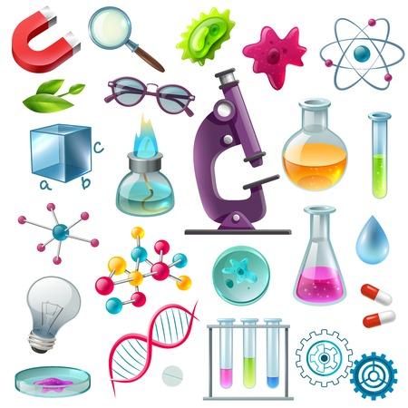 Science decorative icons set with flask beaker microscope magnet atom model spirit lamp symbols cartoon vector illustration
