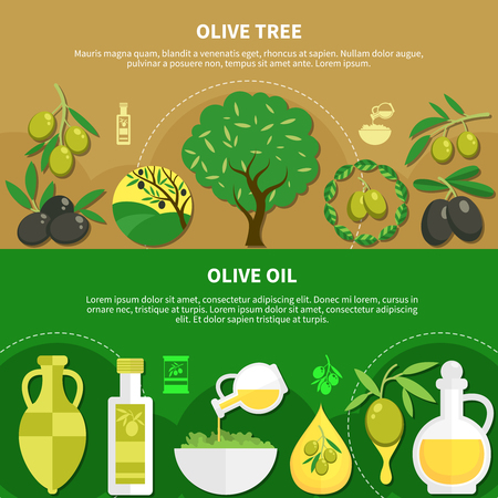 Set of horizontal banners with olive oil Stock Illustratie