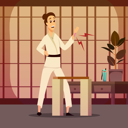 Sport injury flat colorful composition with cartoon character of karate warrior in kimono and indoor scenery vector illustration.