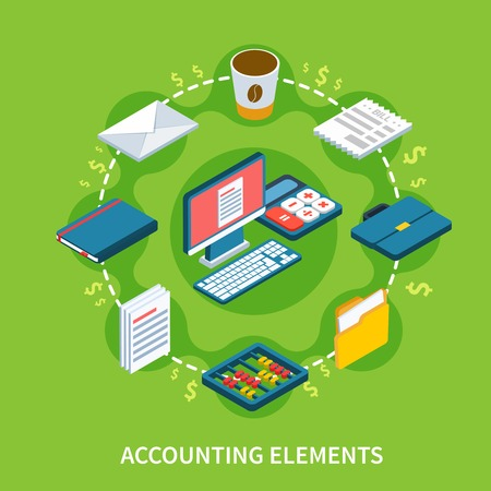 Accounting isometric composition with flat dollar signs and solid stuff icons representing different elements of workspace vector illustration. Ilustracja
