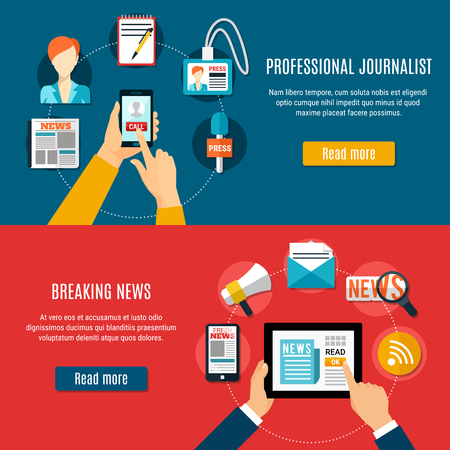 Professional journalist and breaking news horizontal banners with megaphone badge anchor microphone newspaper flat icons vector illustration